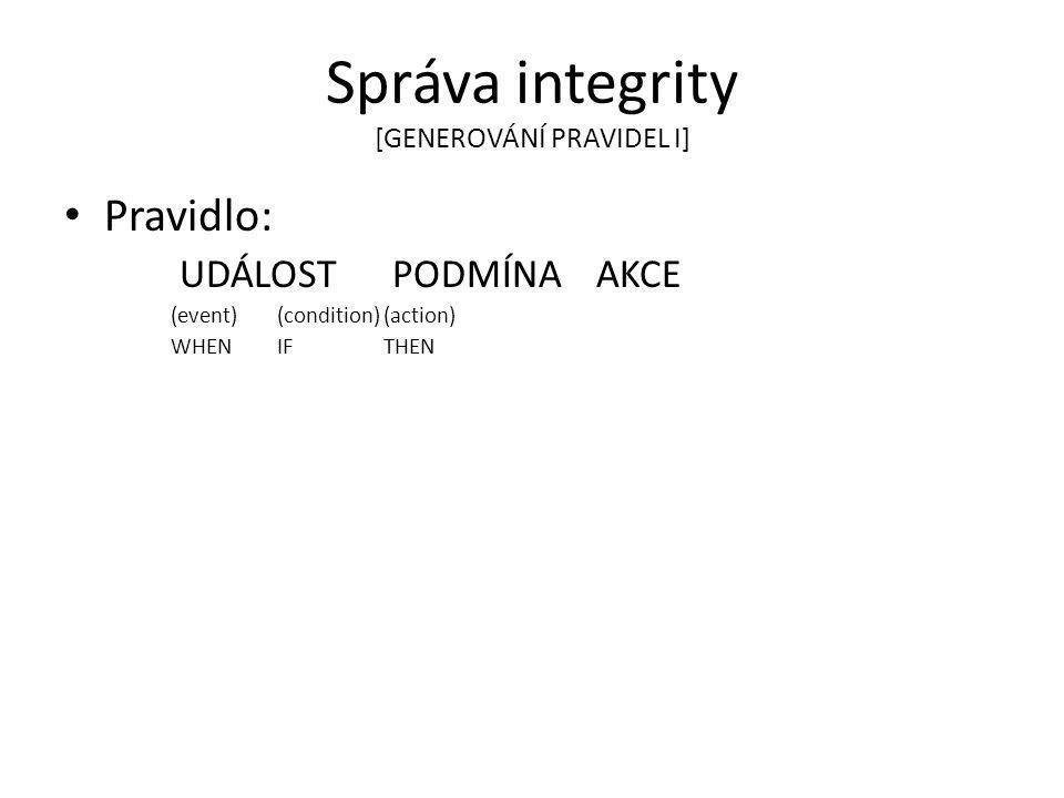 Správa integrity [GENEROVÁNÍ PRAVIDEL I]